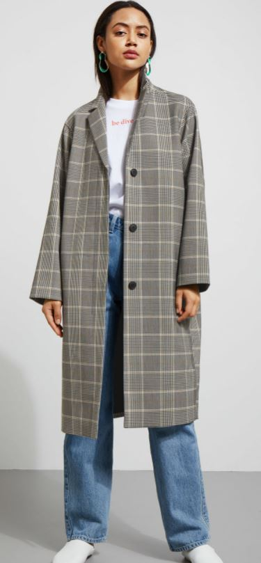 Long check coat, Weekday £80.00