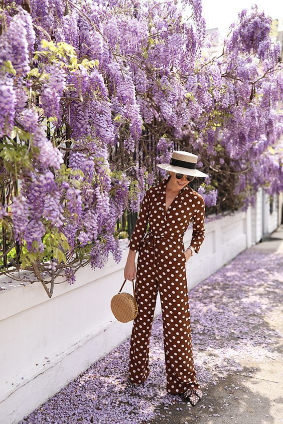 Jump to it - You can't go wrong with a spotty jumpsuit. You can play with colour too - using tones such as brown, red and navy give a cool impact.
