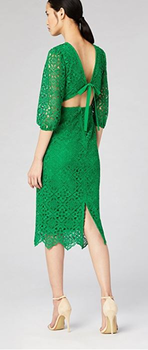 Lace open back green dress, £102.00 Truth & Fable