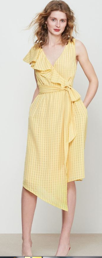 Francesca Yellow frill wrap dress, £125.00, Kitri