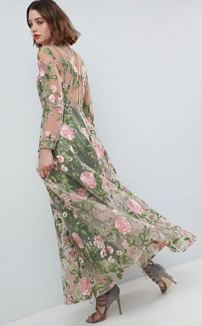 Double layer embroidered maxi dress, £180.00, ASOS EDITION