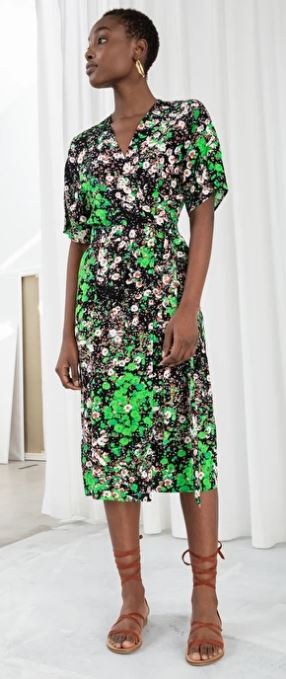 Floral wrap midi dress, £69, & other stories