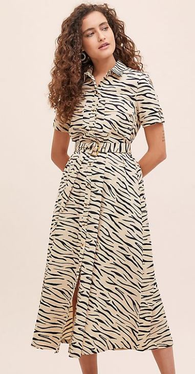 Printed shirt dress, £110, Selected Femme at Anthropologie