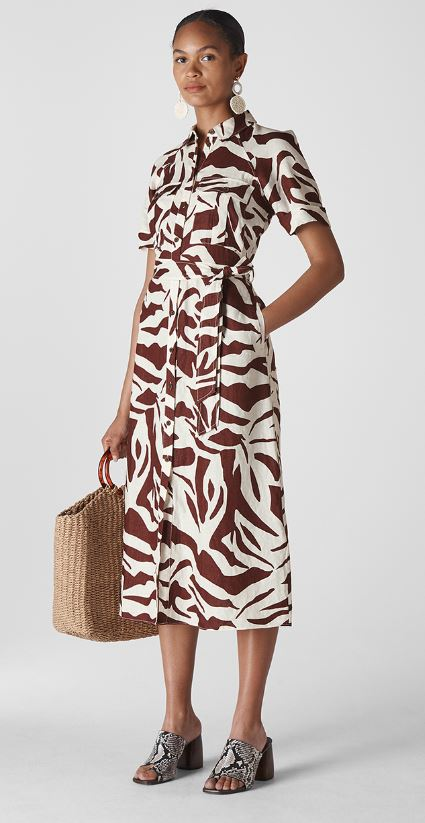 Zebra print shirt dress, £159, Whistles