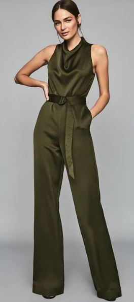 Khaki belted jumpsuit, £220, Reiss