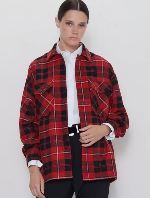 Check oversized shirt, £49.99, Zara