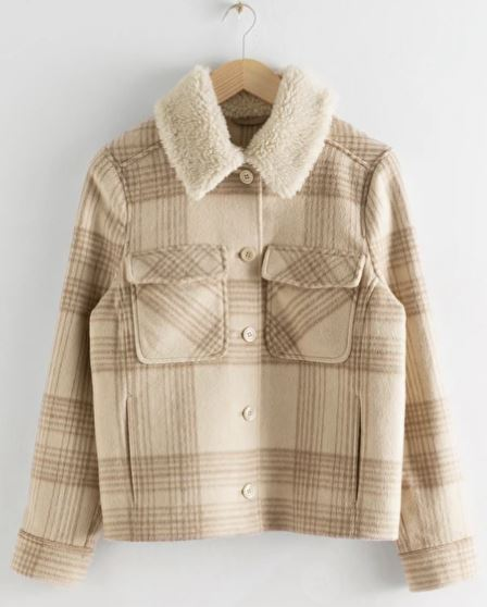 Faux Sherling collar plaid coat, £120, &other stories