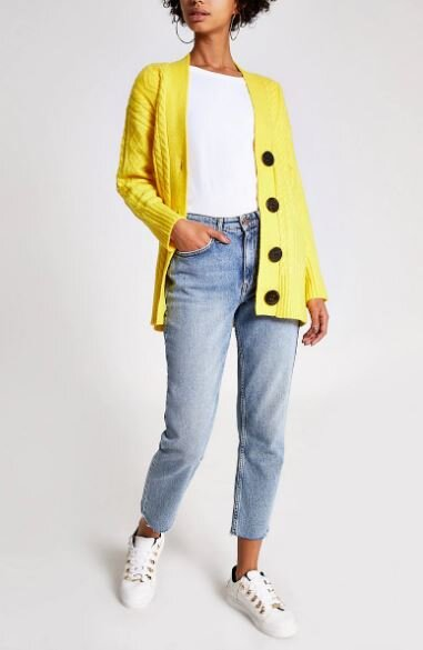 Yellow cable knit cardi, River Island, £42.00
