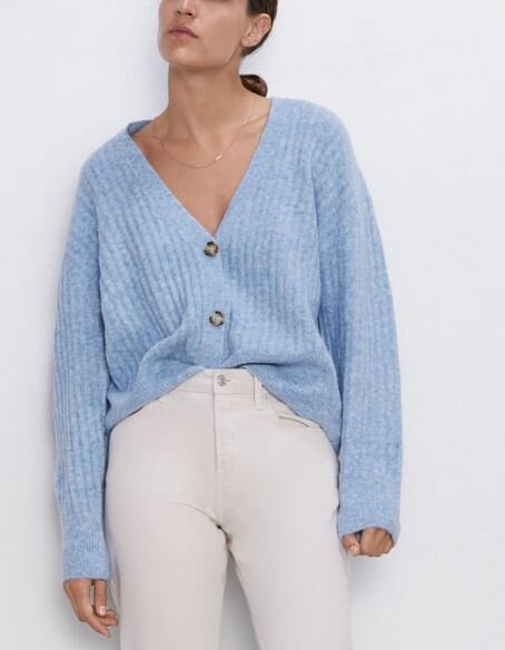 Blue soft feel cardi, Zara, £25.99