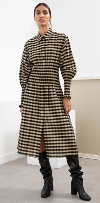 Smocked plaid shirt dress, &other stories, £95.00