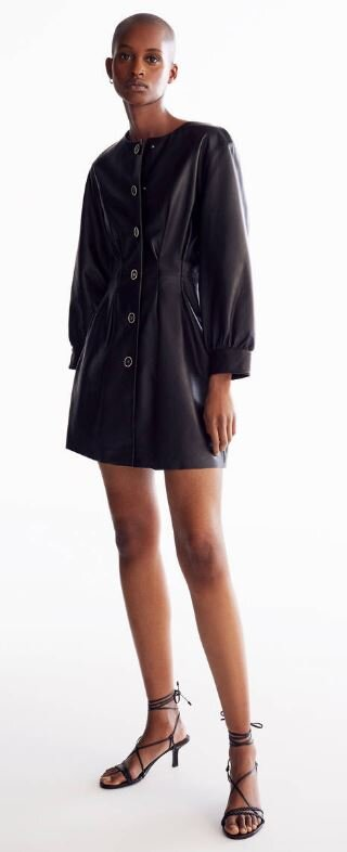 Darted leather shirt dress, Uterque, £290.00