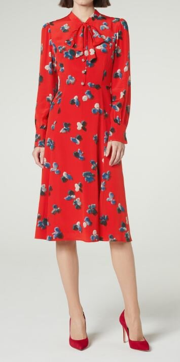 Watercolour pansy print dress, LK Bennett, £325.00