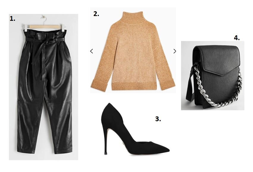 Paperbag waist leather trousers - &other stories £265    Chunky roll neck - Topshop £39    Stiletto's - Kurt Geiger £69    Bag - &other stories £95