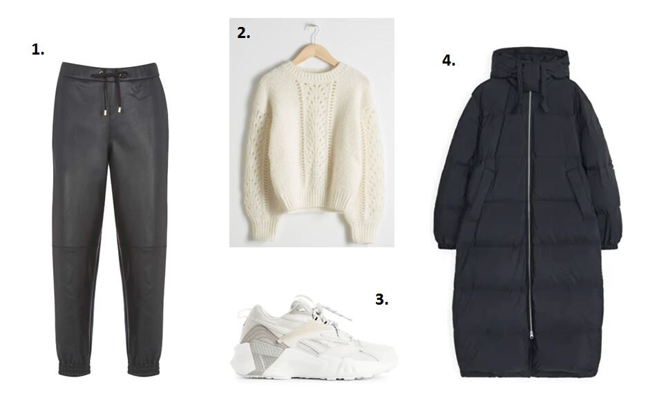 Faux Leather joggers - Mint Velvet £69    White sweater - &other stories £69    Puffa coat - Arket £225    Reebok trainers - Arket £85