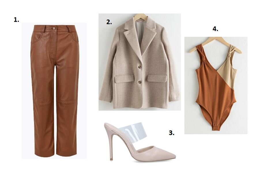 Leather trousers - Marks & Spencer £199    Stone blazer - &other stories £165    Perspex heels - Kurt Geiger £35    Body - &other stories £35