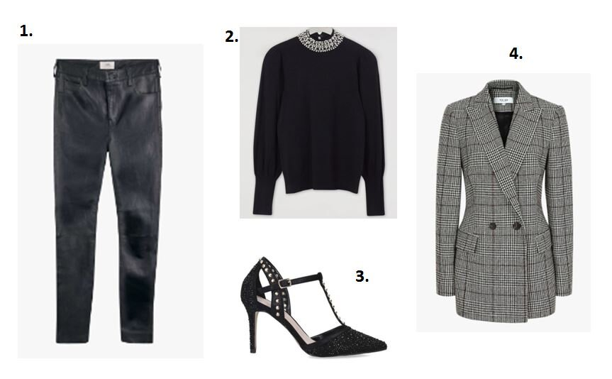 Leather trousers - Hush £375    Black jumper - Warehouse £49    Check blazer - Reiss £295    Studded heel - Kurt Geiger £99