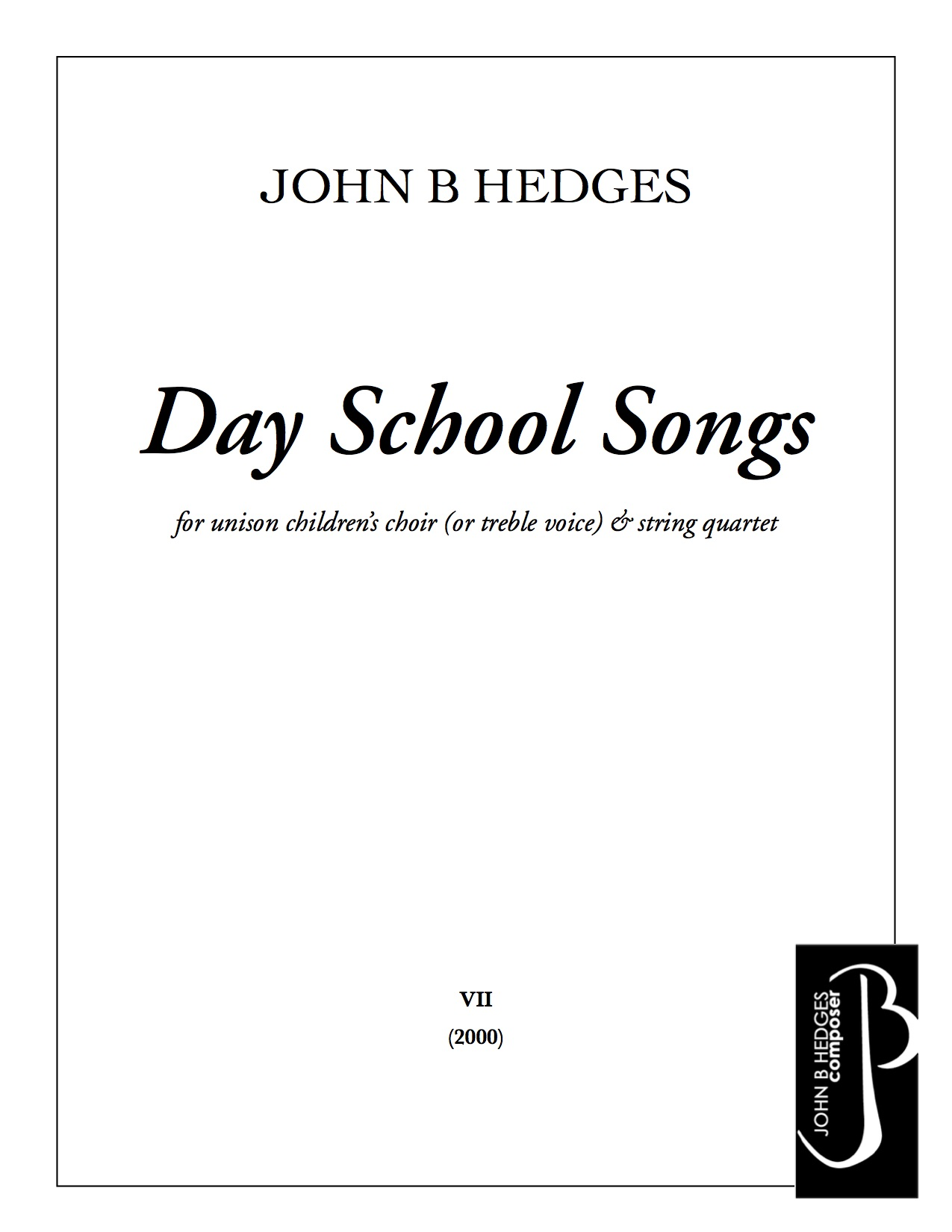 Day School Songs   for unison children's choir & piano