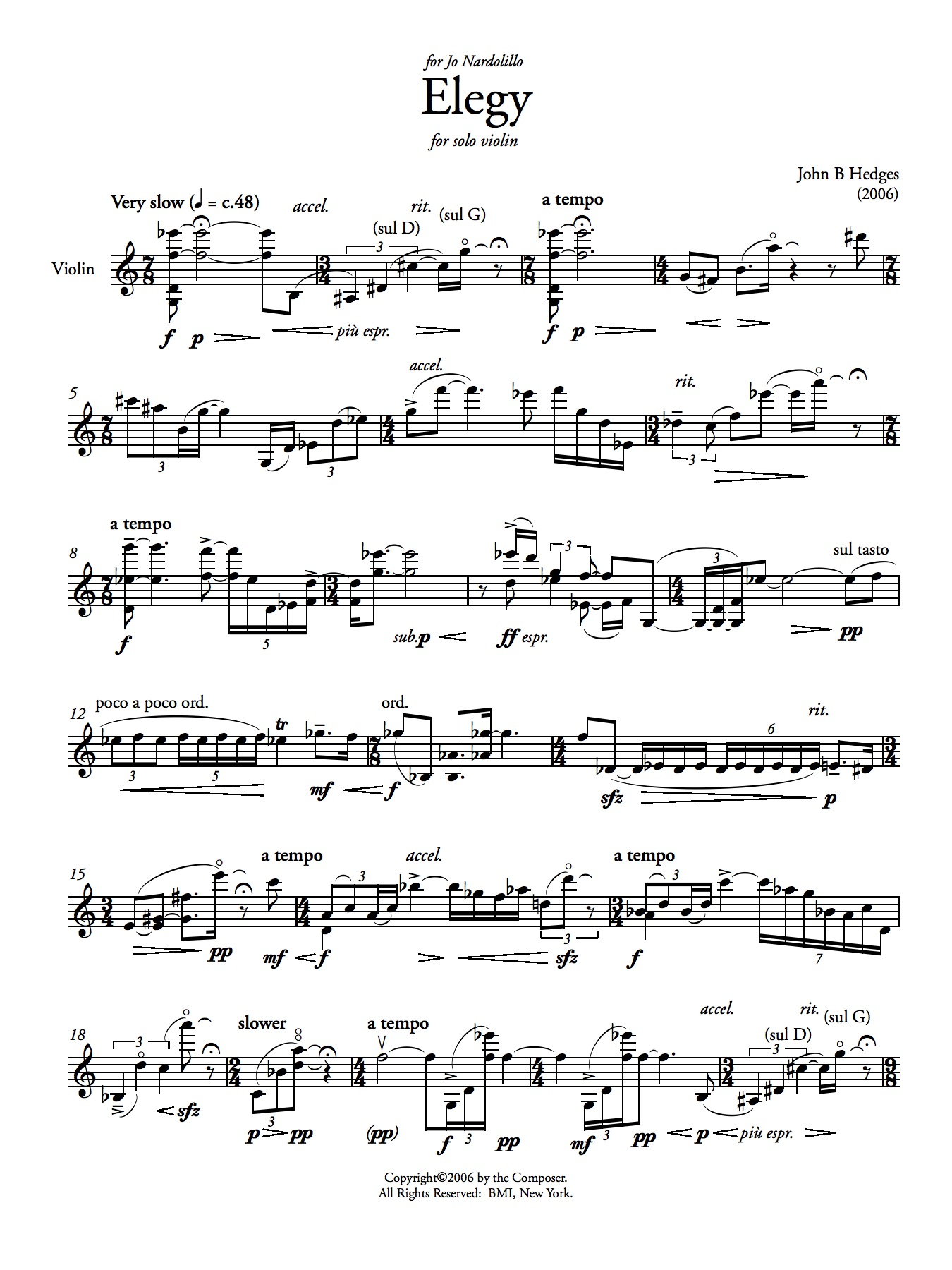 Elegy    for solo violin