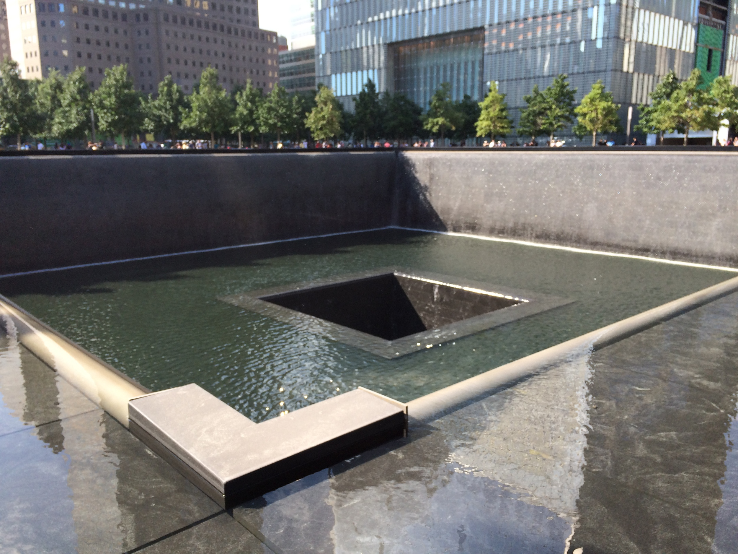 One of the 9/11 memorial fountains. Pretty surreal, I must say. Definitely worth seeing. Makes it feel real.