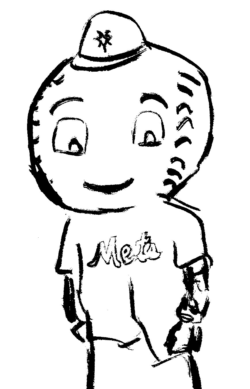 Mr. Met - Age 7: (Here comes baseball) The magical Mets season of 2015 and the late run to the wild card game in 2016 (and the fact that some Mets lived in our building for a time) , made Charlie a committed and optimistic fan. He and dad bought a giant balloon and made a papier-mâché Mr Met head.