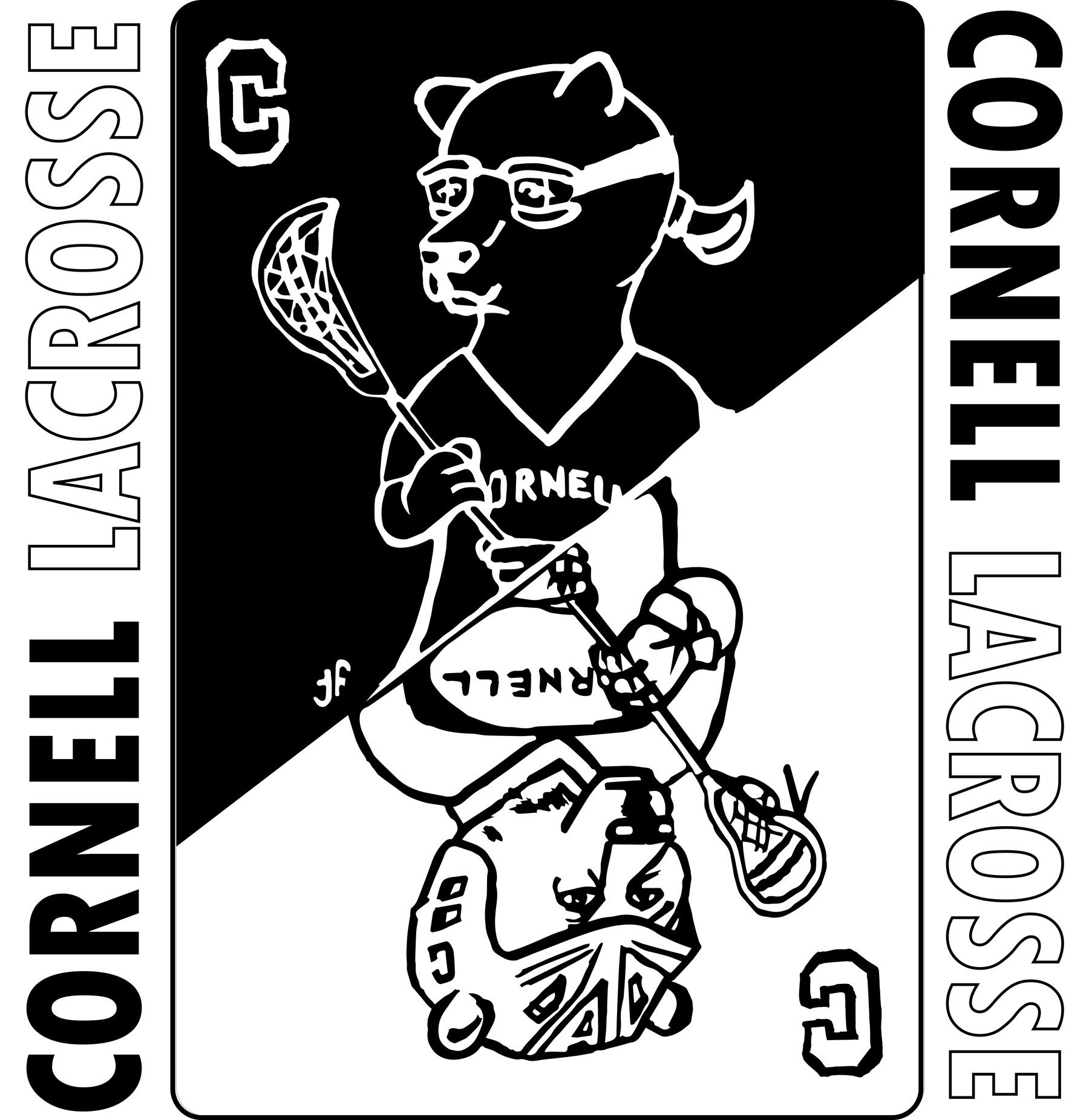 Student Tee Shirt - How to make one design work for Men's and Women's lacrosse?Using a playing card theme, I designed an ink illustration to be used on tee shirts for both women's lacrosse and men's lacrosse while also keeping the two programs united.Image can be flipped so female or male bear is upright.Audience: Current college students