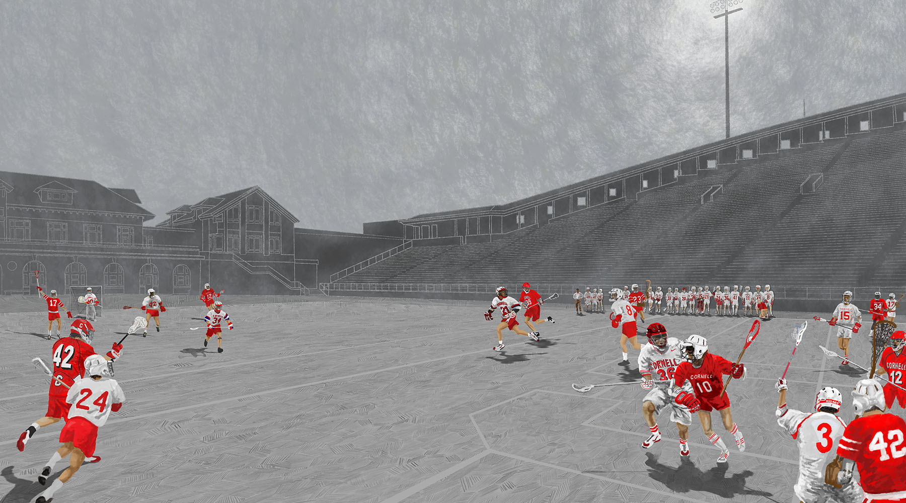 Fine Art Prints - First is a mixed media (pen, ink, digital) rendering of the history of Cornell Lacrosse. It depicts players from 1970 thru the present on the filed, together, in their respective primes.I worked with a respected giclee printer to create high quality LE art prints and canvas printsAudience: Alumni and fans