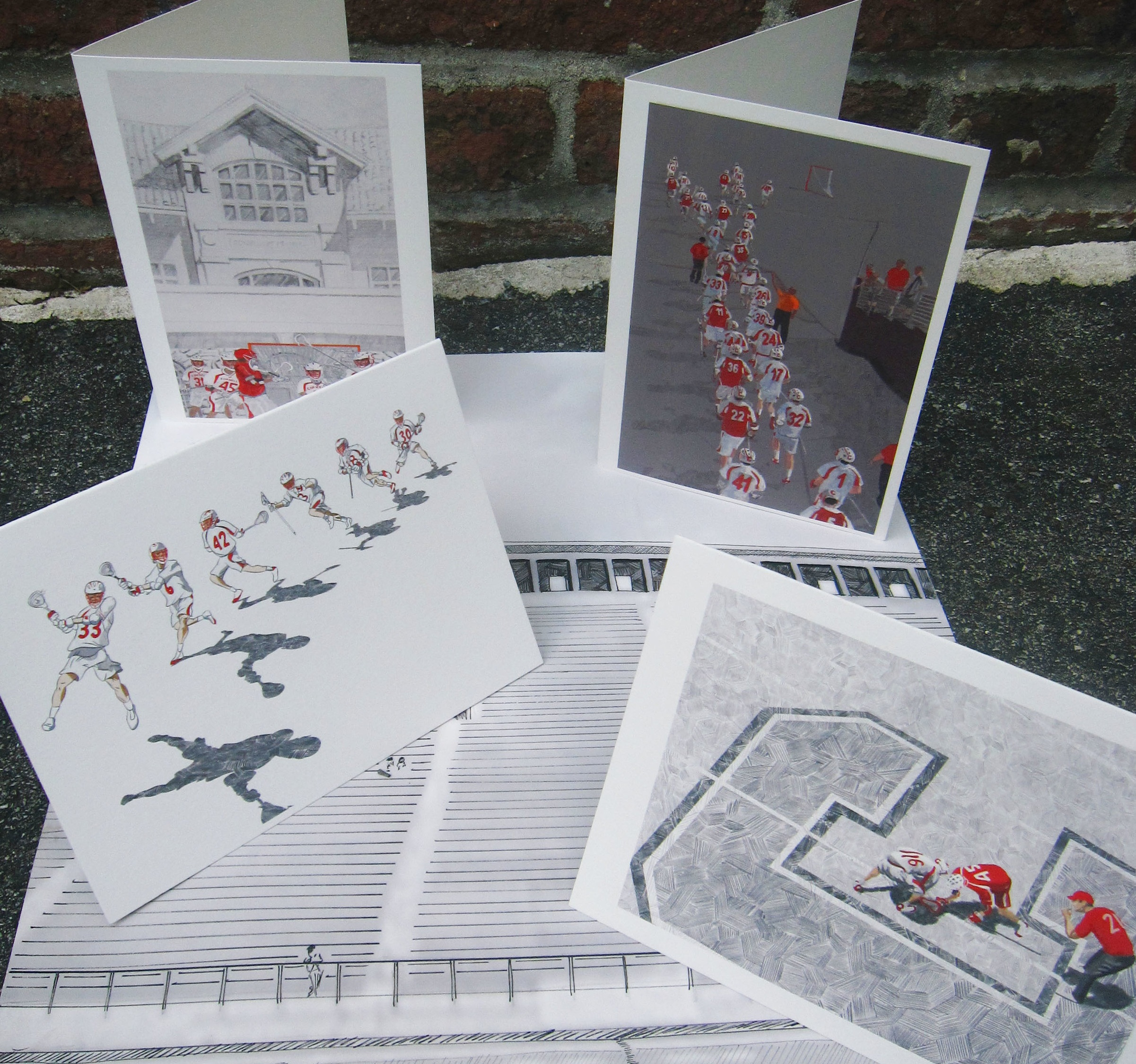 - Along with the above image came a series of prints (mixed media, ink and digital) and note cards depicting the current team.Audience: Parents, alumni, fans