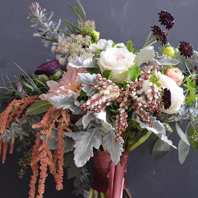 Delicious, wild and textural Fall bouquet...love the draping bits 🌾✨🍂 . . . Hand dyed silk ribbon by @silkandwillow  #fallbouquet #fallweddingflowers #naturalweddingflowers #newyorkflorist #gatherandcurate #amaranthus #gardenroses #dahlias #acacia #loveflowers #mutedcolors #burgundyflowers #wine #fineartflowers #blooooms #underthefloralspell #texture #dsfloral #bohobride #vintagestyle #botanicaldaydreams