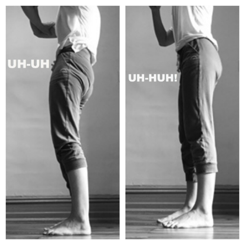 If this describes you; bending from your low back, feeling discomfort at all in your hips, neck or spine, you most likely are not using your hip joints. To change this pattern, make sure you create space in your hip joint by  un-tucking your pelvis first.