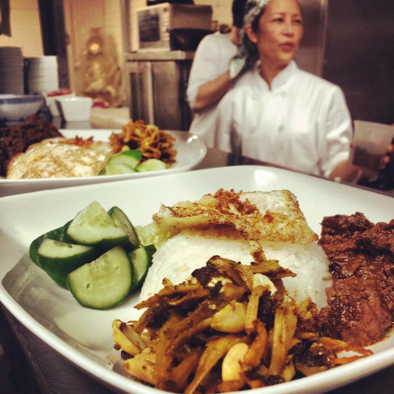 Nasi Lemak   Coconut rice, sambal ikan bilis, rendang short rib, fried egg. Breakfast of Champions