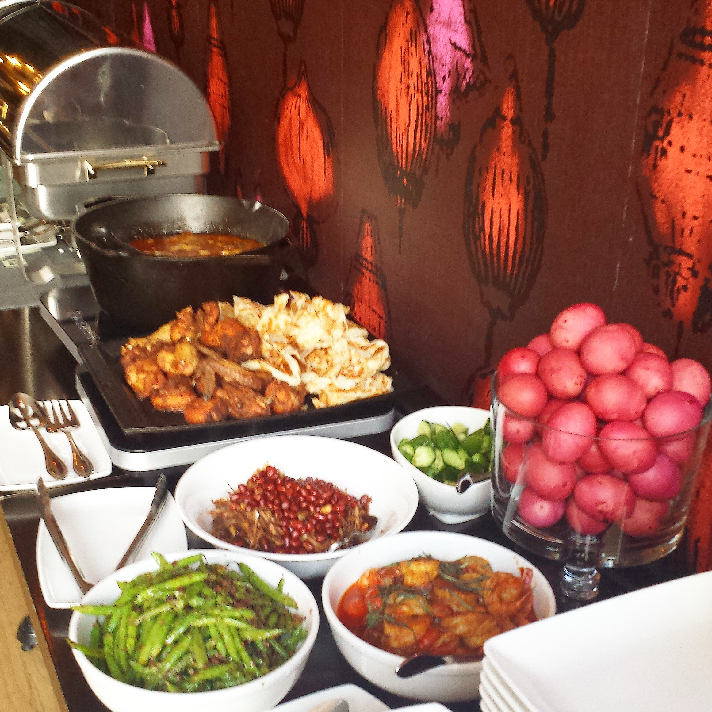 Brunch Party Buffet   Traditional Malay style brunch - rendang beef short ribs, sambal ikan bilis, tamarind prawns, rempah fried chicken, wok tossed mee, green bean sambal, nasi kunyit, coconut rice, roti, red eggs.