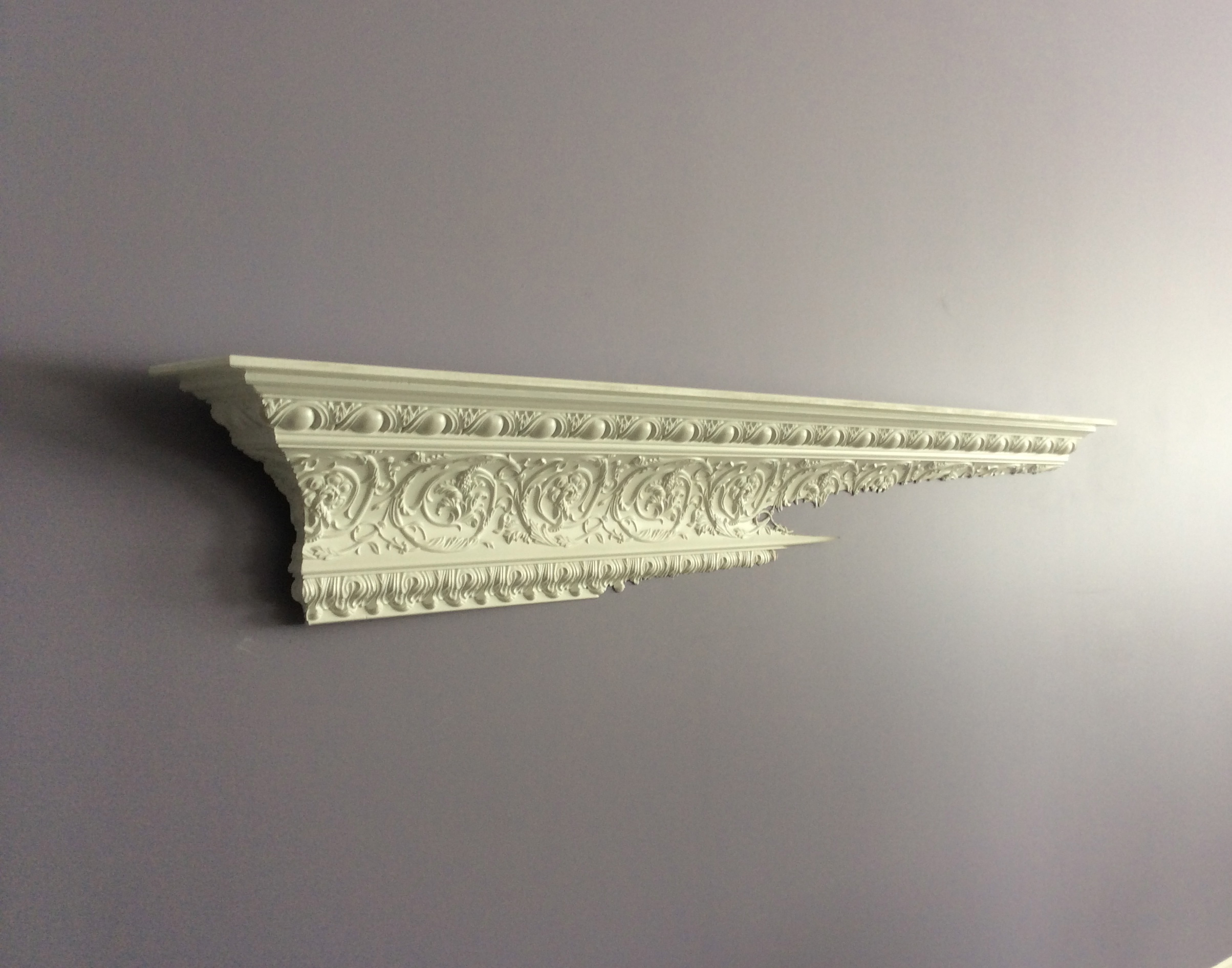 One of 3 disappearing wall shelves installed at our Shabby Chic Loft project.