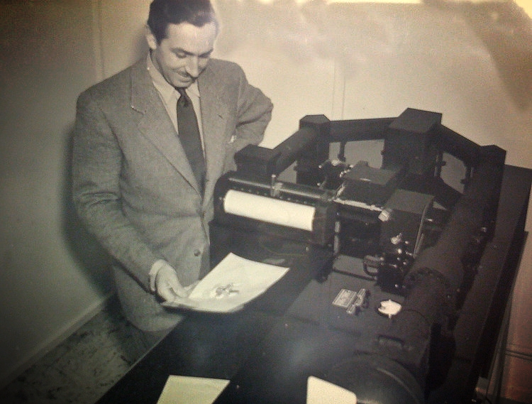 Walt Disney with an early model of the Xerox processor.