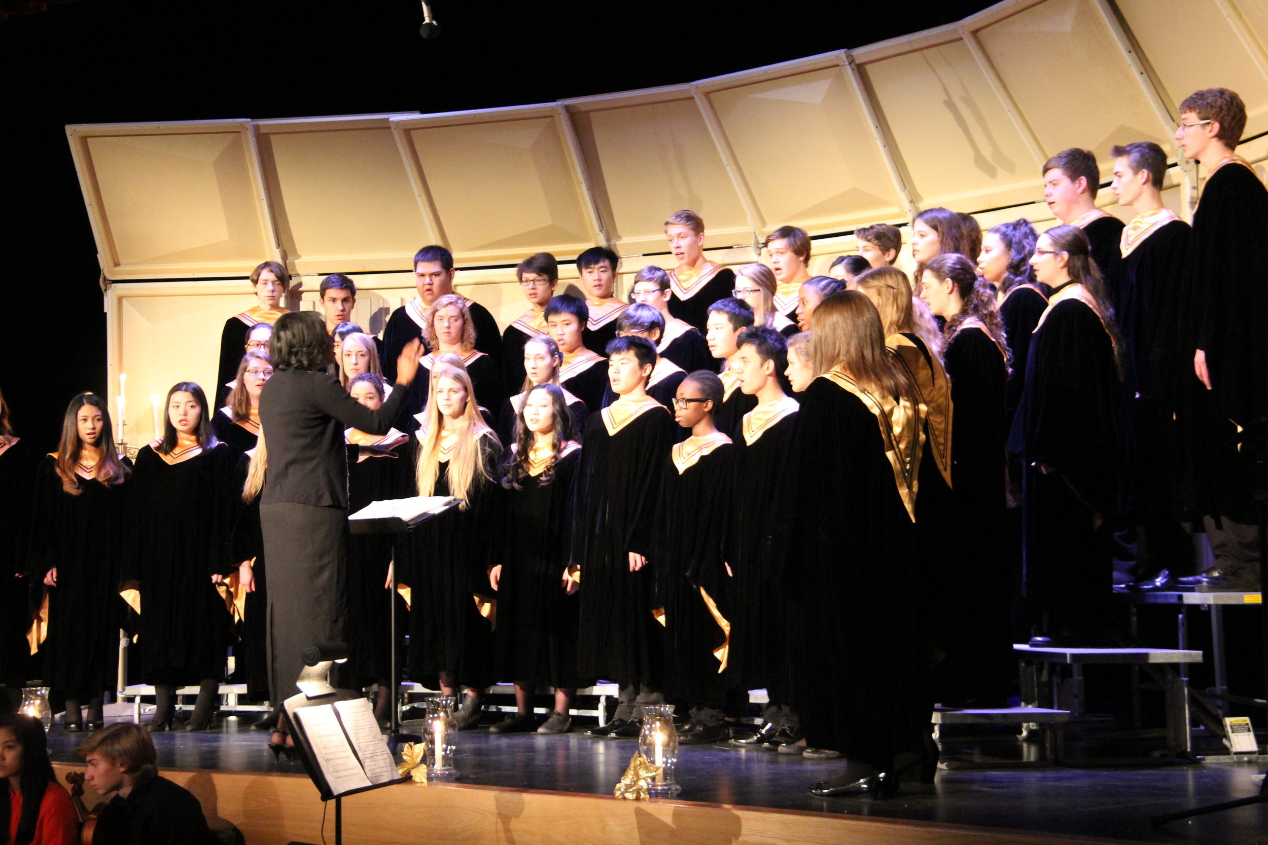 Melissa Morgan conducts the Luther College Senior Choir during their Christmas Candlelight Service. Luther College Belsher Centre, December 2014