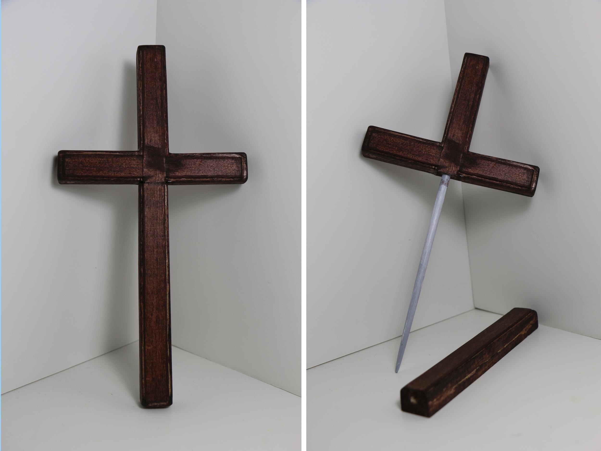 """Crucifix shank, wooden """"blade"""". (2015)"""