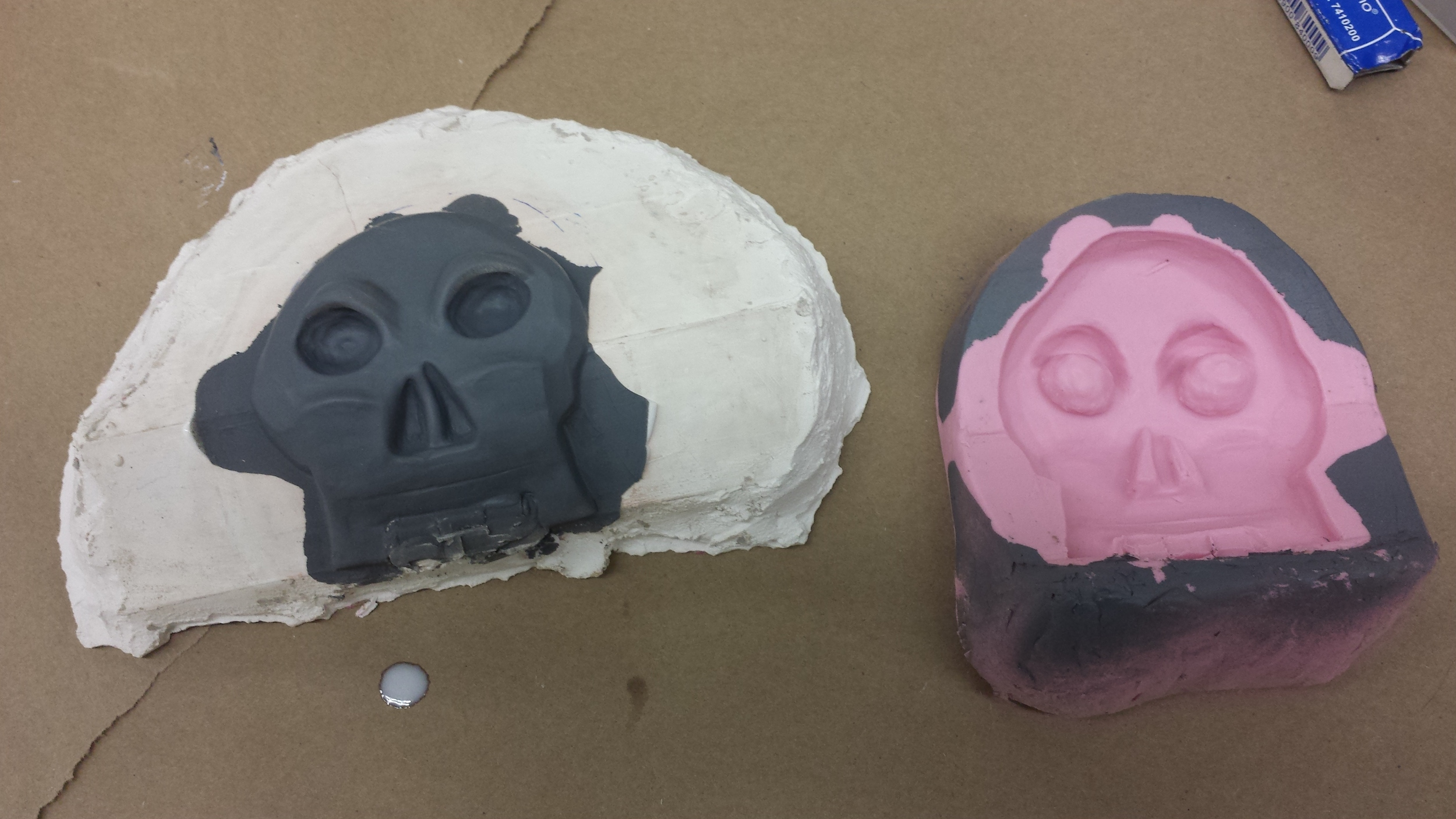 Plastic cast and silicone mold of decorative piece for pirate chest. (2015)