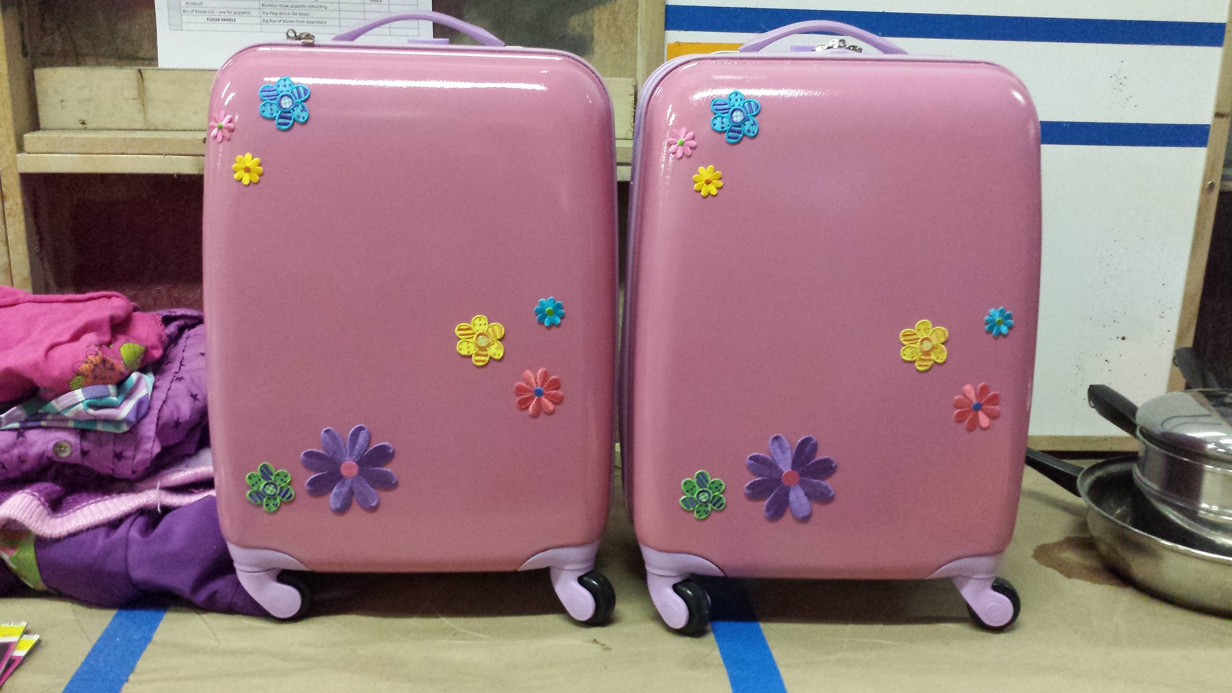 Decorated child's luggage, replica for continuity. (Playdate 2015)