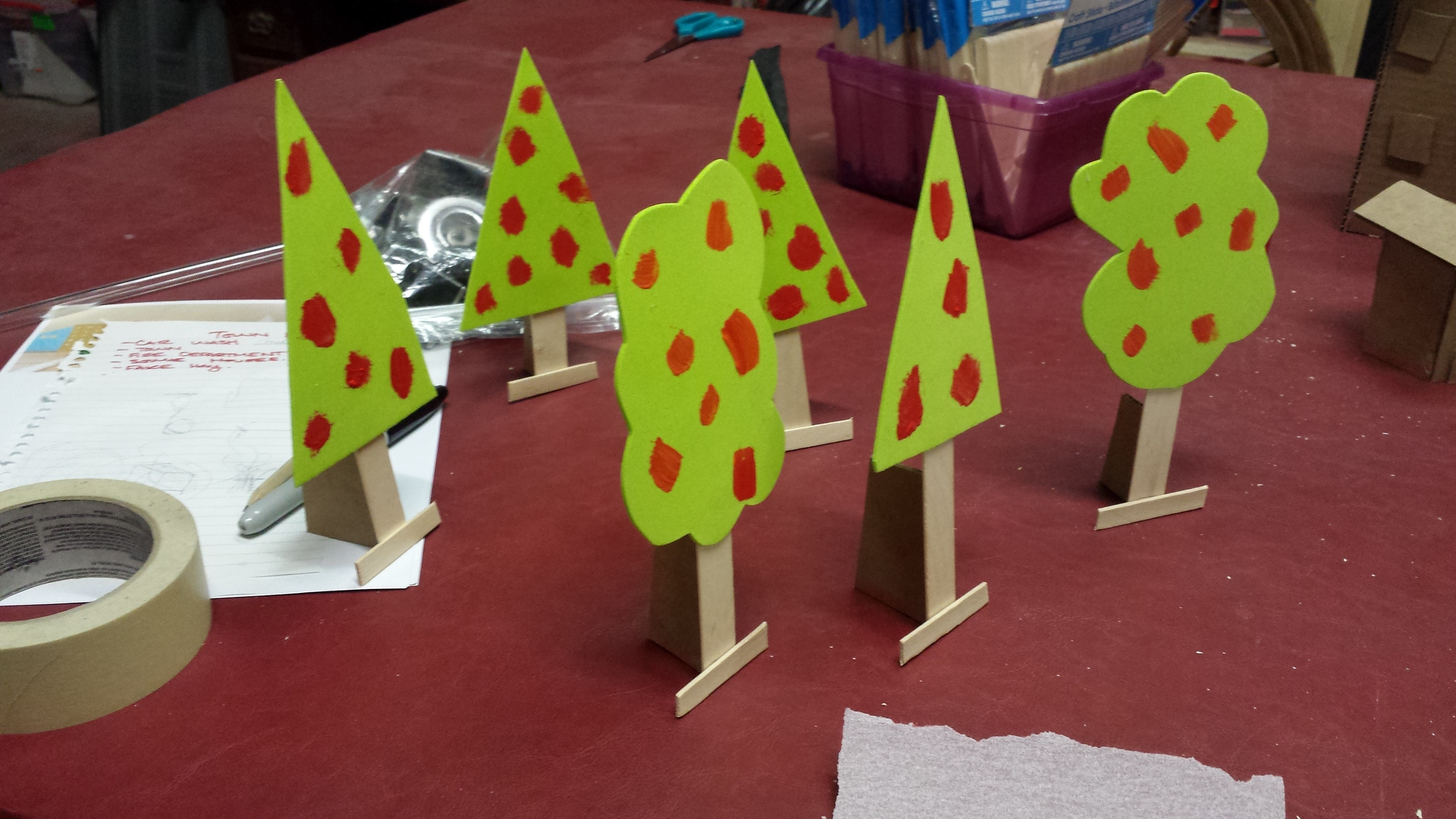 Trees for toy city to appear made by child. (Playdate 2015)