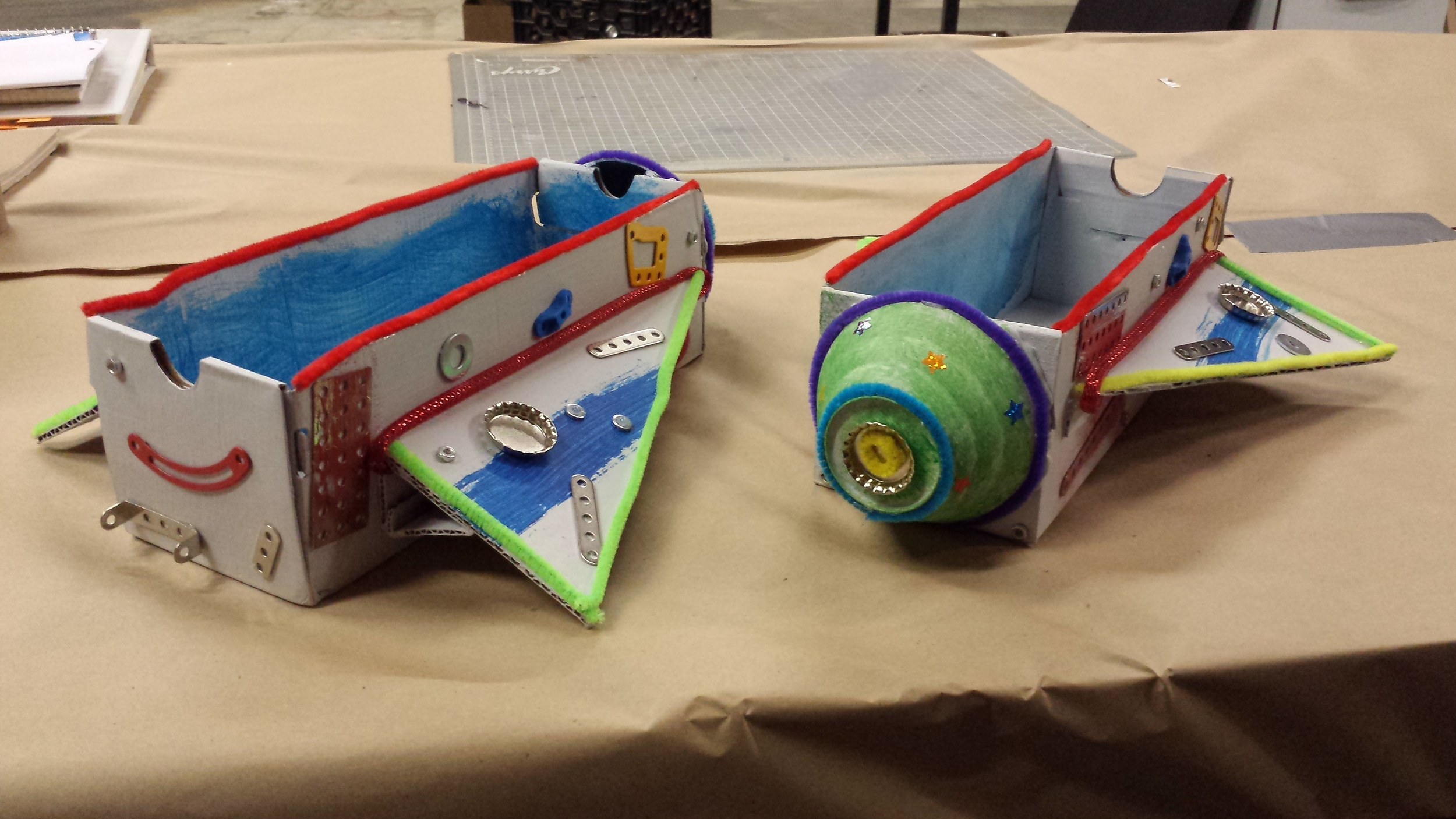 Rocket ship for puppet to appear made by child. (Playdate 2015)