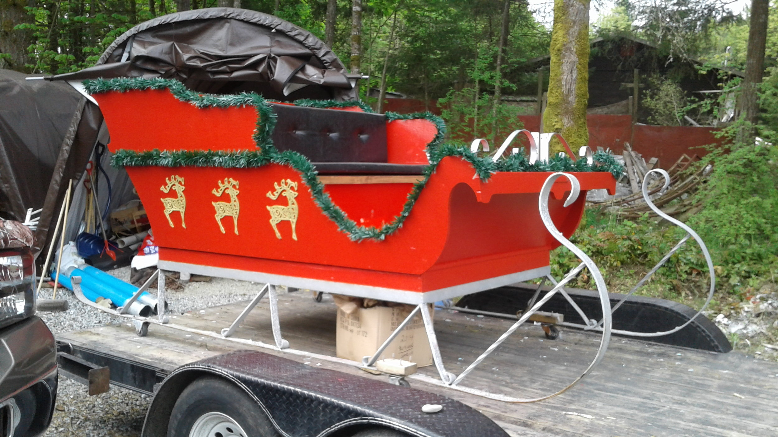 Repainted and decorated Santa's Sleigh (Runaway Christmas Bride; 2017)