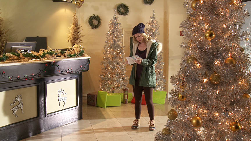 Ski Lodge Lobby, coordinated decoration and placement of all Christmas decorations. (Runaway Christmas Bride, 2017)