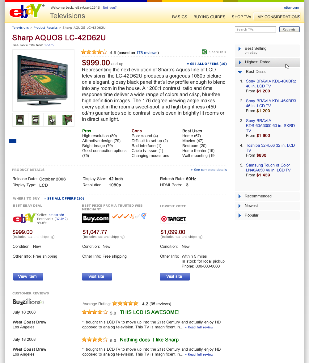 A product page