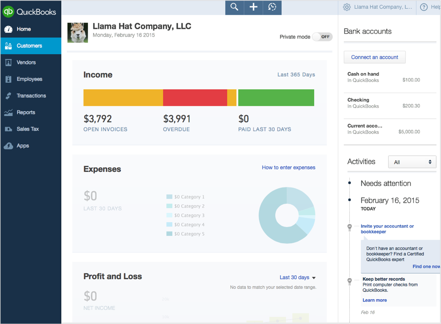 This is the new homepage. The design offers instant insights to your data, and is targeted to small business owners and their accountants.