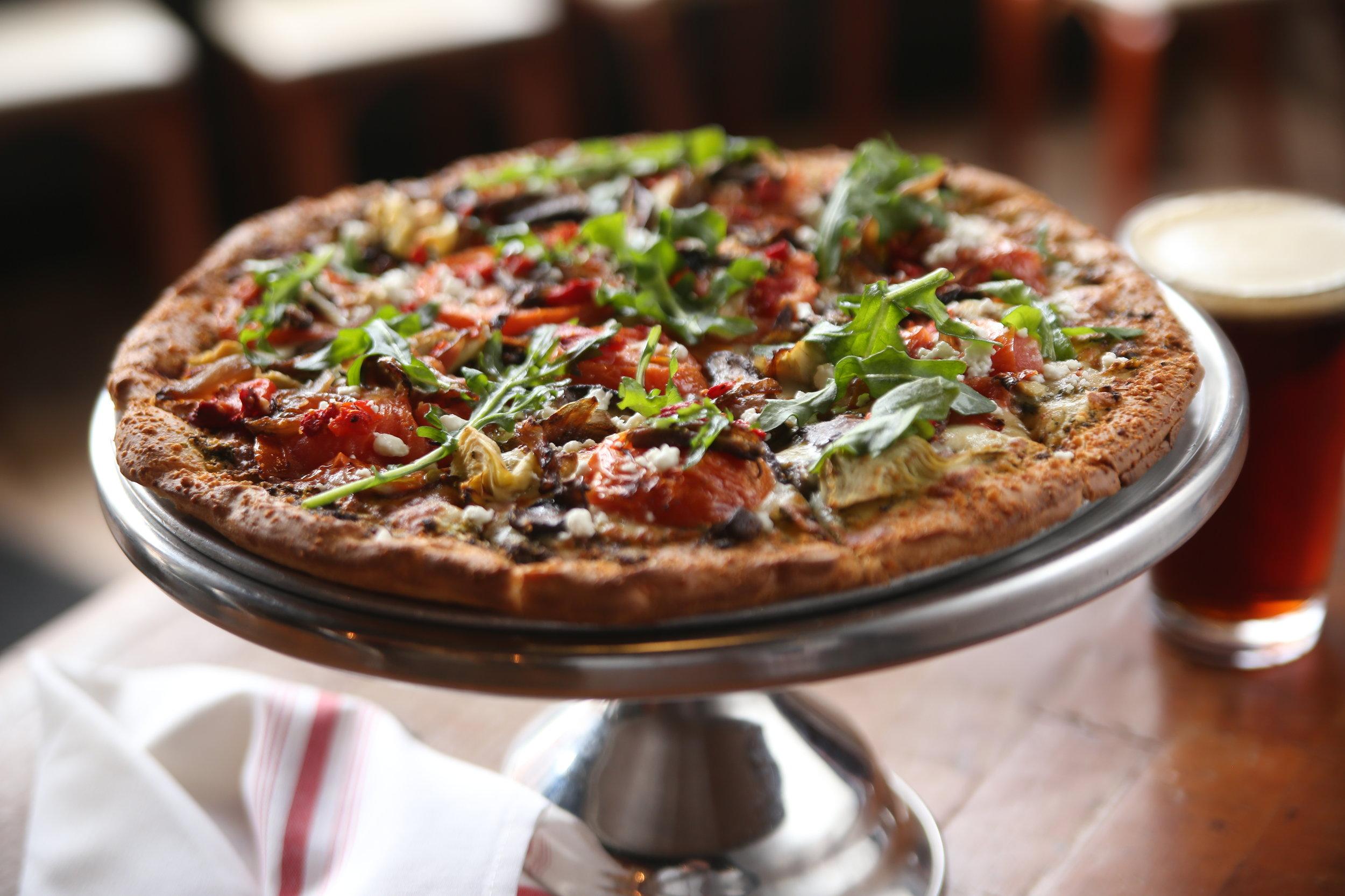 Roasted Vegetable & Pesto Pizza (shown on regular crust)
