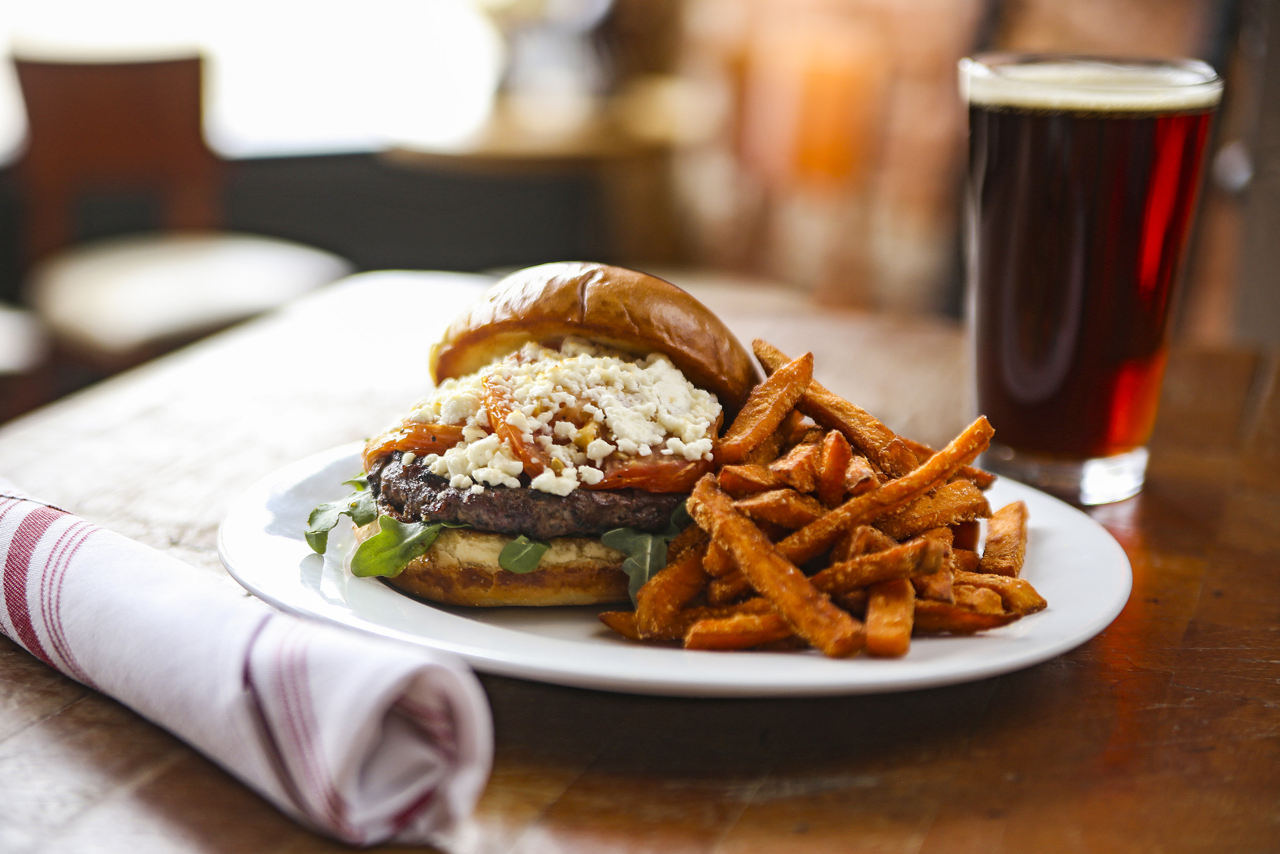 Collaboration Burger with Sweet Potato Fries