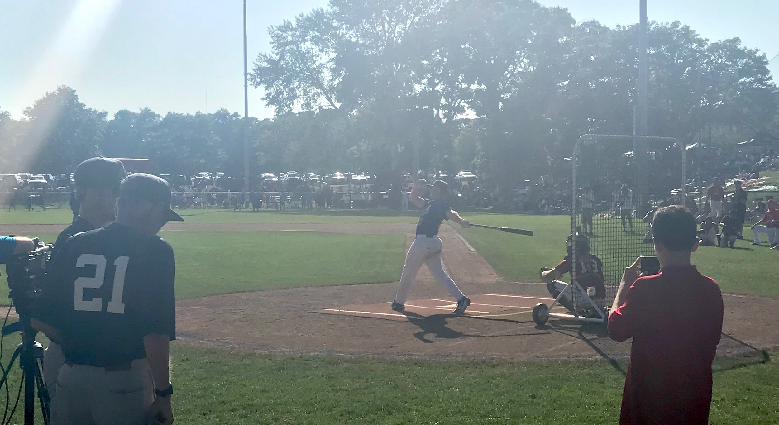 Hyannis' Hunter Goodman participates in the 2019 Cape League All Star Game Home Run Derby.  Photo by Harrison Meyers