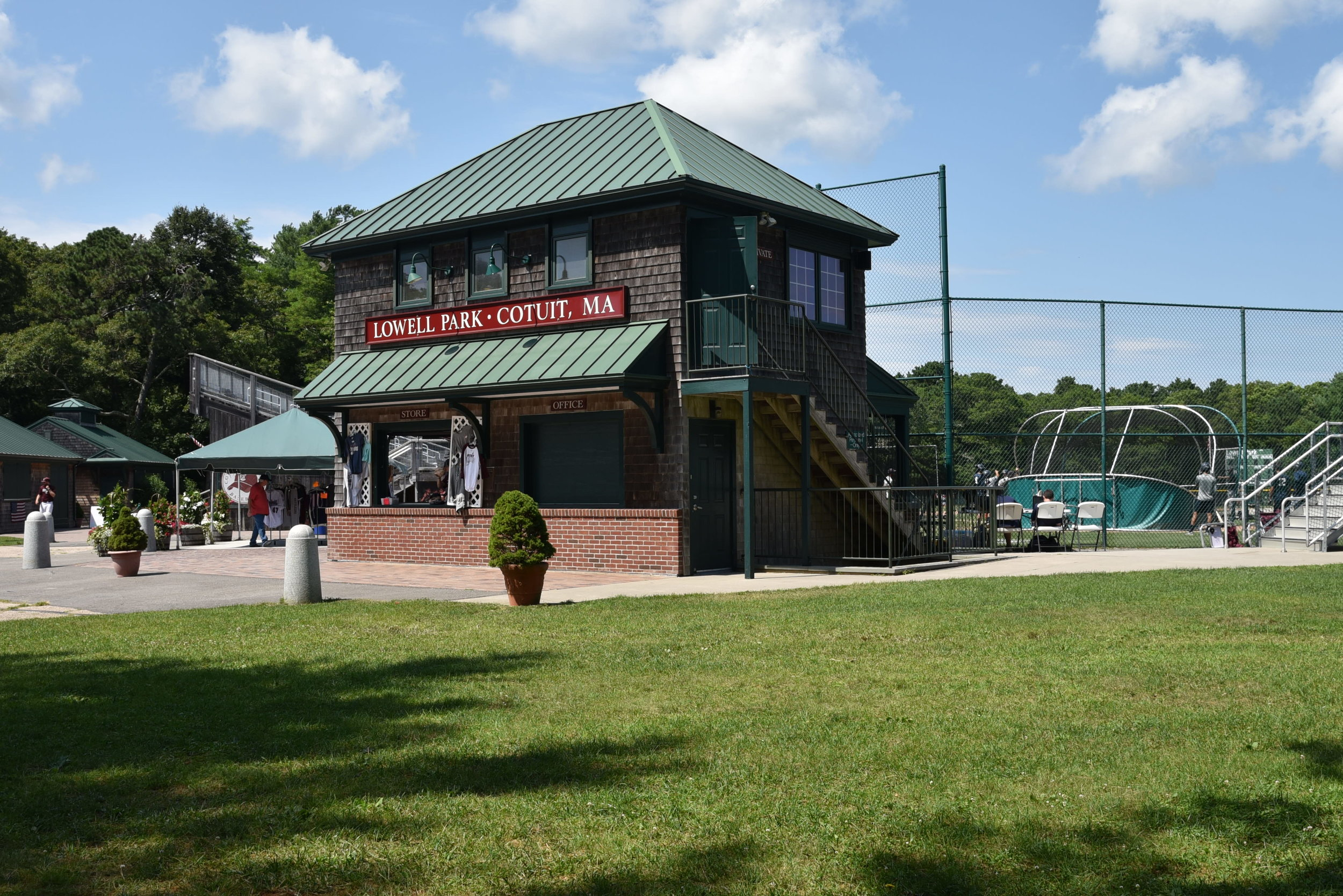 Following the offensive output from the Cotuit Ketteleers in Game 2 vs the Wareham Gatemen many people wonder if the road to the title runs through Cotuit.  The press box at Lowell Park in Cotuit.   Photo by Harrison Meyers