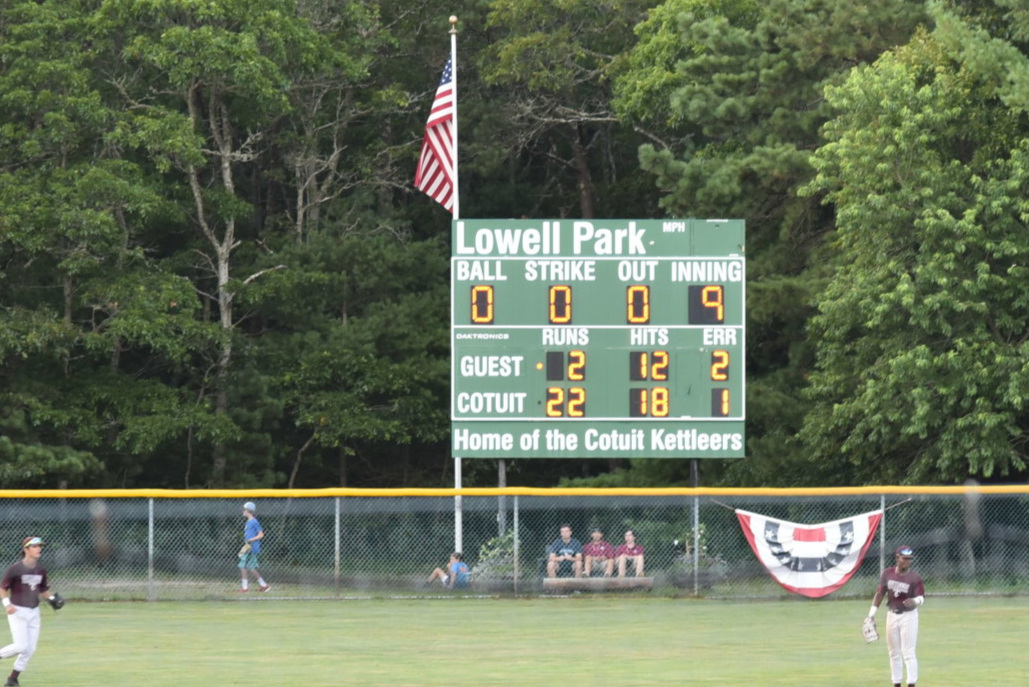 The scoreboard at the end of Game 2 of the Western Division Quarter Finals between Cotuit and Wareham.  Photo by Harrison Meyers