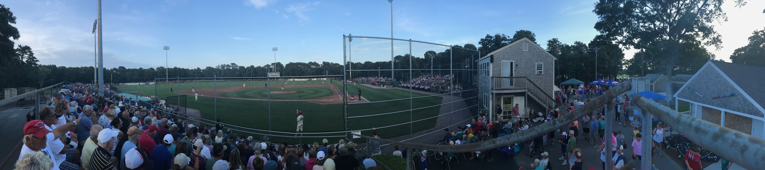 The crowd showed up in force at Whitehouse Field for Game 2 of the Eastern Championship series against the Y-D Red Sox.  Photo by Harrison Meyers.