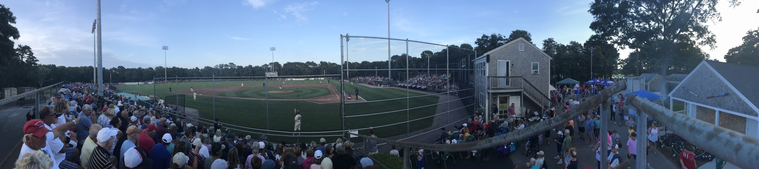 Game One of the 2019 Cape League Championship Series in Harwich.   Photo by Harrison Meyers.
